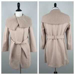 APT 9 Stretch Cowl Neck Belted Wool Blend Overcoat